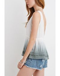 Forever 21 - Natural Dip-dyed Babydoll Top - Lyst