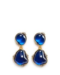 Kenneth Jay Lane | Blue Cabochon Stone Drop Clip Earrings | Lyst