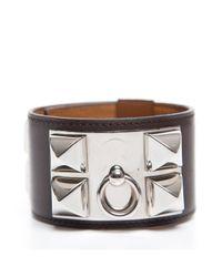 Hermès - Black Pre-Owned Red Courcheval Stud Cuff Bracelet - Lyst