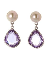 Majorica - Purple Stone  Faux Pearl Drop Earrings - Lyst