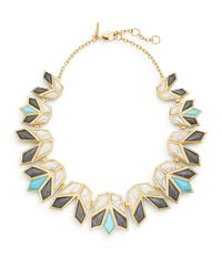 Lele Sadoughi | Multicolor Egyptian Deco Howl Marble & 14k Goldplated Lotus Bib Necklace | Lyst