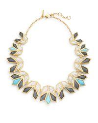 Lele Sadoughi - Multicolor Egyptian Deco Howl Marble & 14k Goldplated Lotus Bib Necklace - Lyst