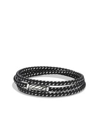 David Yurman - Chevron Triplewrap Bracelet in Black for Men - Lyst