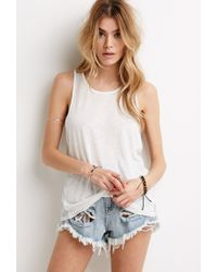 Forever 21 - Natural Lace-paneled Racerback Tank - Lyst