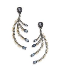 Alexis Bittar | Metallic Elements Dark Alchemy Hematite & Crystal Feather Drop Earrings | Lyst