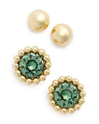 Anne Klein | Green Stone Stud Earrings | Lyst
