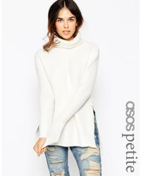 ASOS - Natural Petite Jumper In Brushed Yarn With High Neck And Side Splits - Lyst