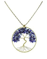 Aeravida - Blue Lapis Stone Eternal Tree Of Life Brass Long Necklace - Lyst