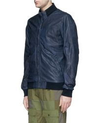 Scotch & Soda - Blue Leather Bomber Jacket for Men - Lyst