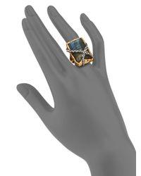 Alexis Bittar - Metallic Elements Phoenix Labradorite Rocky Rectangle Ring - Lyst