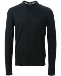 Armani Jeans - Black V-neck Sweater for Men - Lyst