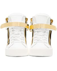 Giuseppe Zanotti - White Leather Maylon High_top Sneakers - Lyst