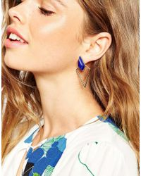ASOS | Blue Open Diamond Double Earrings | Lyst