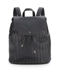 Deux Lux - Black Wink Woven Front Flap Backpack - Lyst