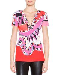 Emilio Pucci - Pink Kaleidoscope-print Silk V-neck Top - Lyst