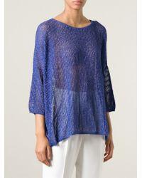 M Missoni - Blue Open Knit Top - Lyst