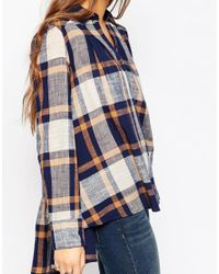 Free People   Blue Peppy Plaid Button Down Shirt   Lyst