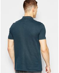 ASOS - Blue Pique Polo In Grey for Men - Lyst