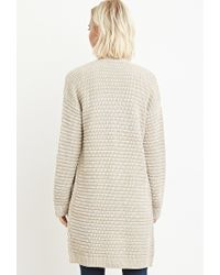 Forever 21 | Brown Textured Open-front Cardigan | Lyst