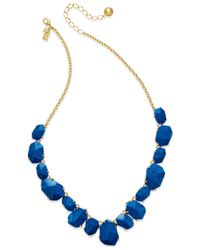 Kate Spade | Blue 12k Gold-plated Faceted Stone Frontal Necklace | Lyst