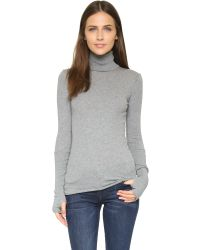 Enza Costa | Gray Cuffed Turtleneck | Lyst