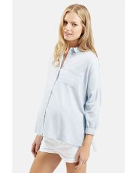 TOPSHOP | Blue Chambray Maternity Shirt | Lyst