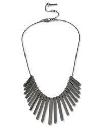 Kenneth Cole - Gray Hematite-tone Frontal Necklace - Lyst