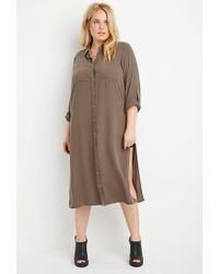 Forever 21 - Brown Plus Size Longline High-slit Tunic - Lyst