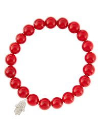 Sydney Evan | 8Mm Red Coral Beaded Bracelet With 14K White Gold/Diamond Small Hamsa Charm (Made To Order) | Lyst