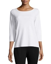 Eileen Fisher | White 3/4-sleeve Cotton Tee | Lyst