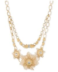 Anne Klein - Metallic Gold-tone Crystal And Faux Fur Statement Necklace - Lyst