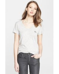 Burberry Brit - Gray Cotton V-neck Tee - Lyst