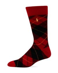 Polo Ralph Lauren | Red Diamond Plaid Socks for Men | Lyst