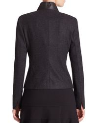 Akris Punto - Black Leather-collar Snap-front Jacket - Lyst