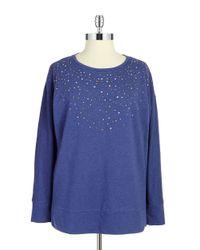 DKNY | Blue Plus Embellished Terry Sweatshirt | Lyst