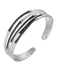 John Hardy - Metallic Bamboo Silver Lava Narrow Flex Cuff for Men - Lyst