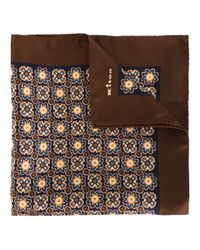 Kiton - Brown Floral Print Pocket Scarf for Men - Lyst