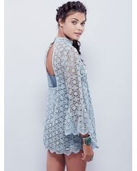 Free People - Blue Womens Mock Neck Lace Tunic - Lyst