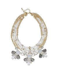 INC International Concepts - White Gold-tone Glass And Crystal Bead Statement Frontal Necklace - Lyst