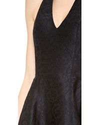Halston | Black Halter Jacquard Gown with Tulip Skirt | Lyst