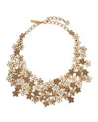 Oscar de la Renta   Metallic Crystal Flower Bib Necklace   Lyst