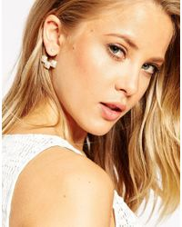 ASOS | Metallic Limited Edition Square Faux Pearl Swing Earrings | Lyst