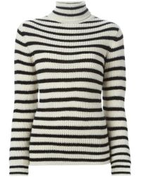 IRO - Natural Striped Turtleneck Sweater - Lyst
