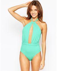 ASOS - Green 70s Plunge Halter Swimsuit - Lyst