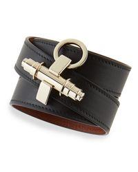 Givenchy - Black Calfskin Leather Wrap Bracelet - Lyst
