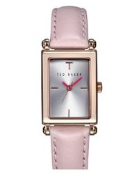 Ted Baker - Pink 'bliss' Rectangle Case Leather Strap Watch - Lyst