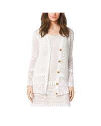 Michael Kors | White Crocheted Cotton Cardigan | Lyst
