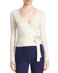 Diane von Furstenberg | White 'ballerina' Wrap Sweater | Lyst