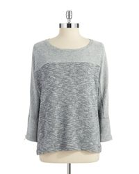 Calvin Klein - Gray Terrycloth Knit Top - Lyst