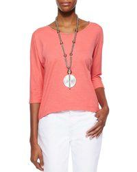 Eileen Fisher - Pink Slubby 3/4-sleeve Tee - Lyst